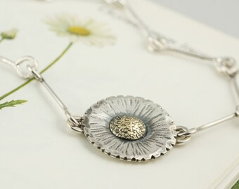 silver daisy flower chain necklace pendant