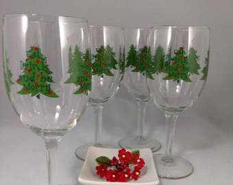 Wine Goblets-Eat Drink and be Merry/Set of 4