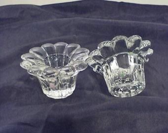 Candle Holder Crystal Glass Votive Set of 2