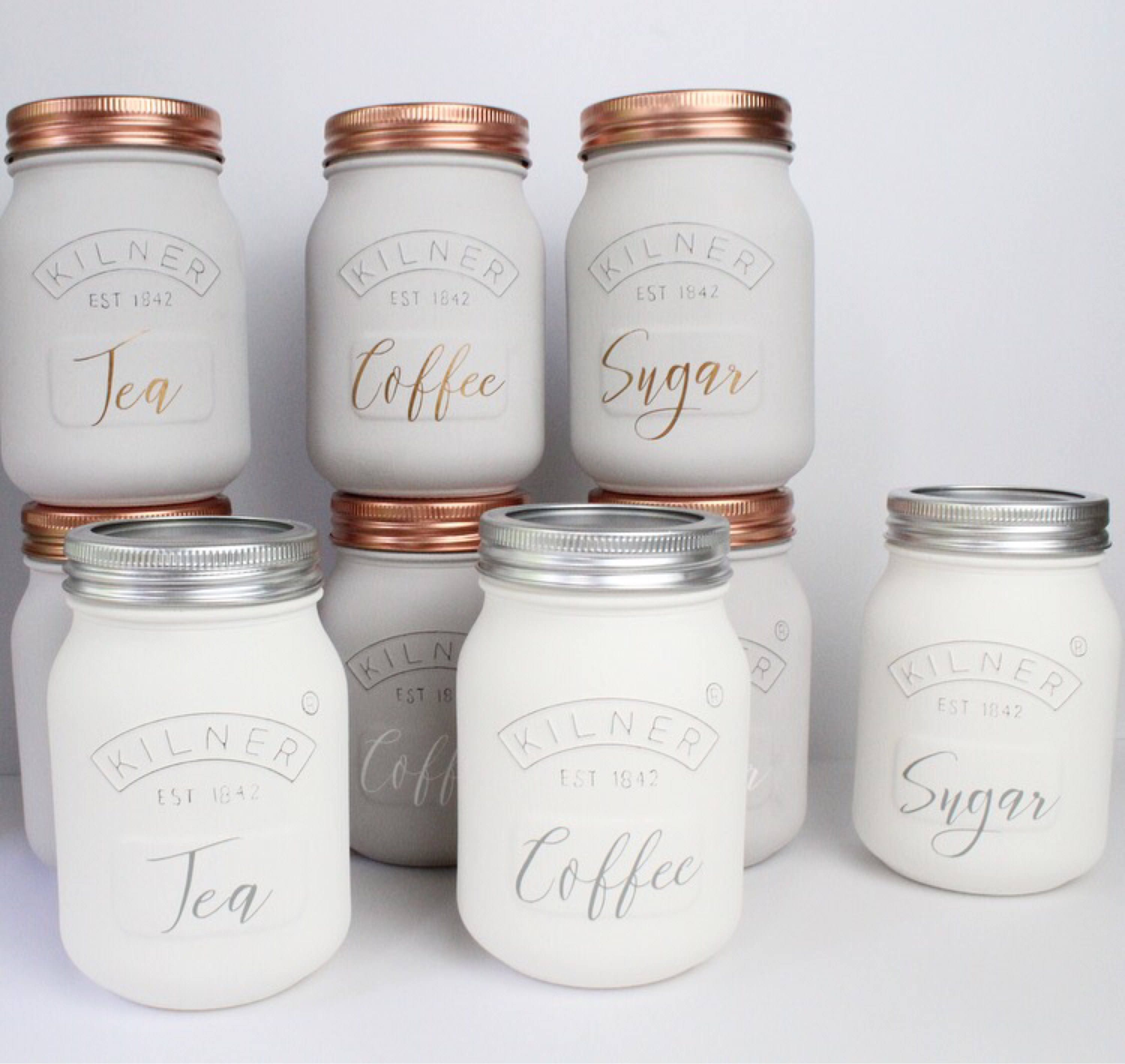 White Kitchen Sets: White Kitchen Set Of 3 Coffee Sugar And Tea Canisters