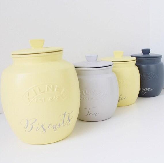 Rounded Set Of 4 Grey Yellow Kitchen Tea Coffee Sugar Etsy