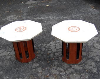 1960u0027s Harvey Probber Terrazzo Top Pair Of Side Tables,