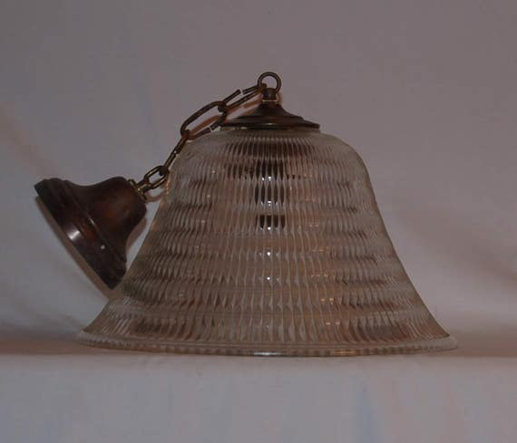 Vintage Holophane Ribbed Clear Glass Pendant Light Fixture With Original Canopy Bell Shaped