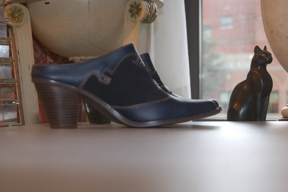 size 9 blue mules metal studs leather & suede, nev