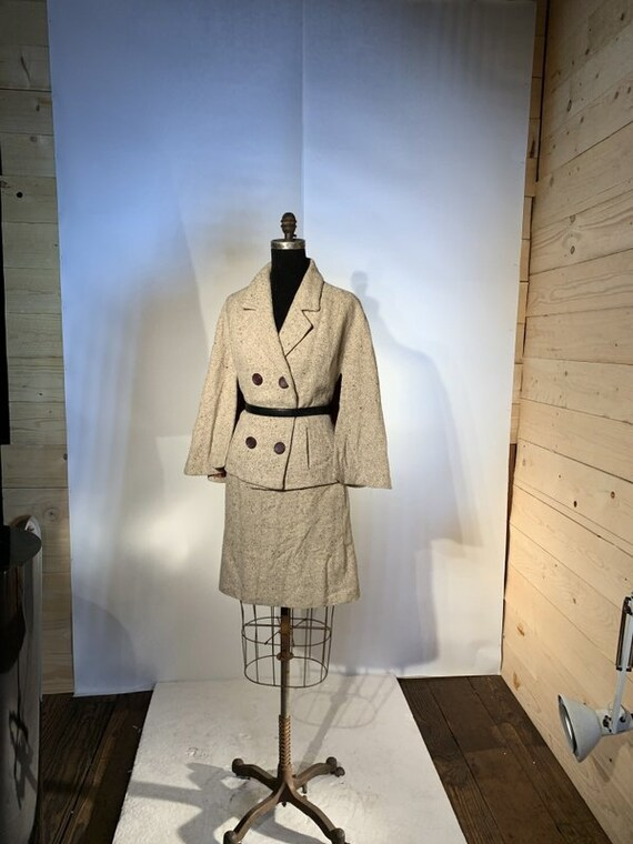 1960s Wool Tweed Cape Suit, 1960s Suit, Womens Twe