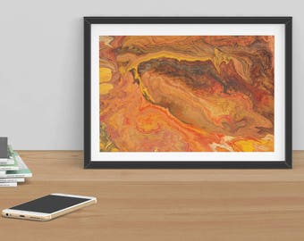 Abstract art print, glicee quality, limited edition, contemporary, earth, geology, red, brown, yellow, orange