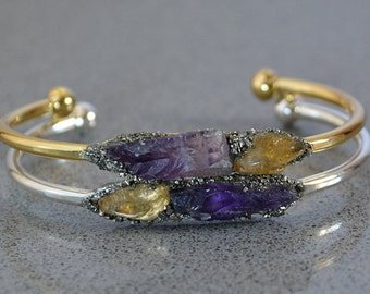 Raw Amethyst Jewelry - Raw Citrine Jewelry - Boho Bracelet - November Birthstone Jewelry - February Birthstone Jewelry - Raw Crystal Jewelry