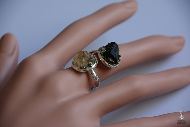 Protection Ring Black Tourmaline Ring October /& November Birthstone Ring Yellow Topaz Ring