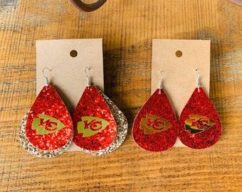 Small arrow Kansas City Chiefs beaded dangle earrings