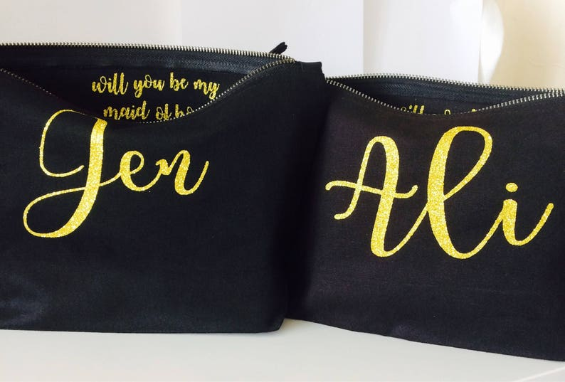 Bridesmaid Personalised Gift Makeup Bag Cosmetic Birthday