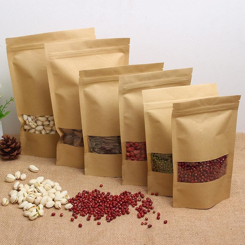 12*20*4cm Kraft window ziplock wolfberry fruit food self-sealed bags tea  bag Window 50pcs custom sizes logo