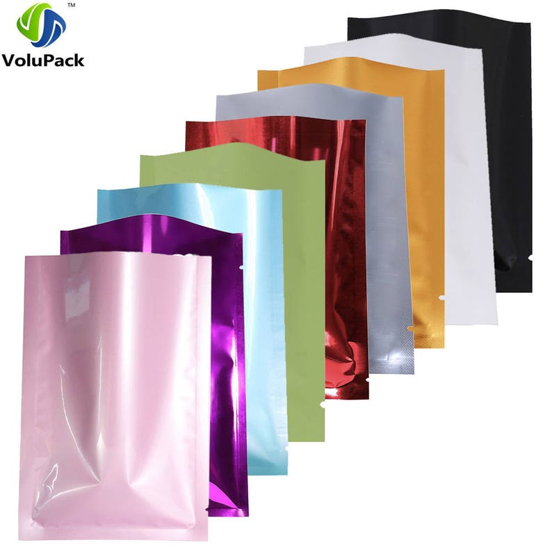New Flat Glossy Black Open Top Mylar Bags Pouches with Window Variety Quantity