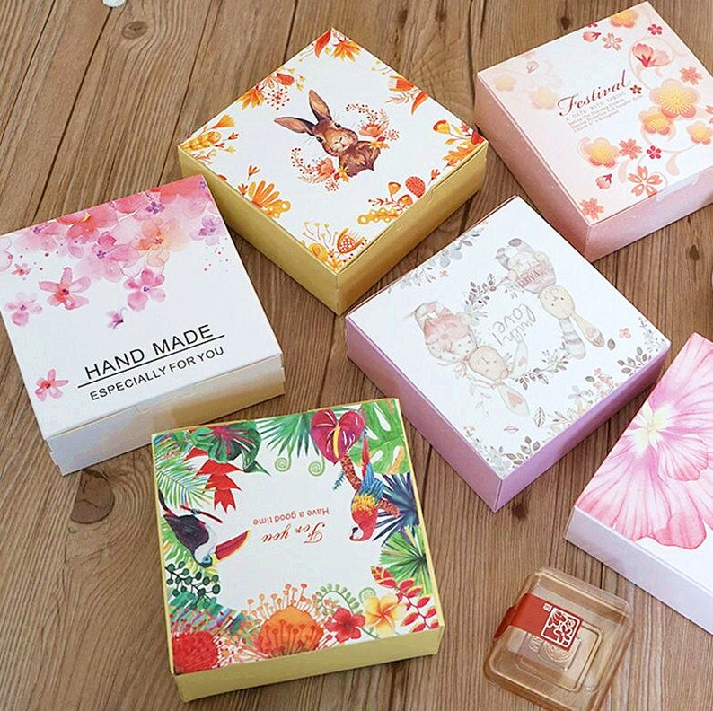 New Pattern Small Cake Boxes Diy Wedding Gift Favor Box Egg Tartcookiecandynuts Cake Packing Box 10pieces