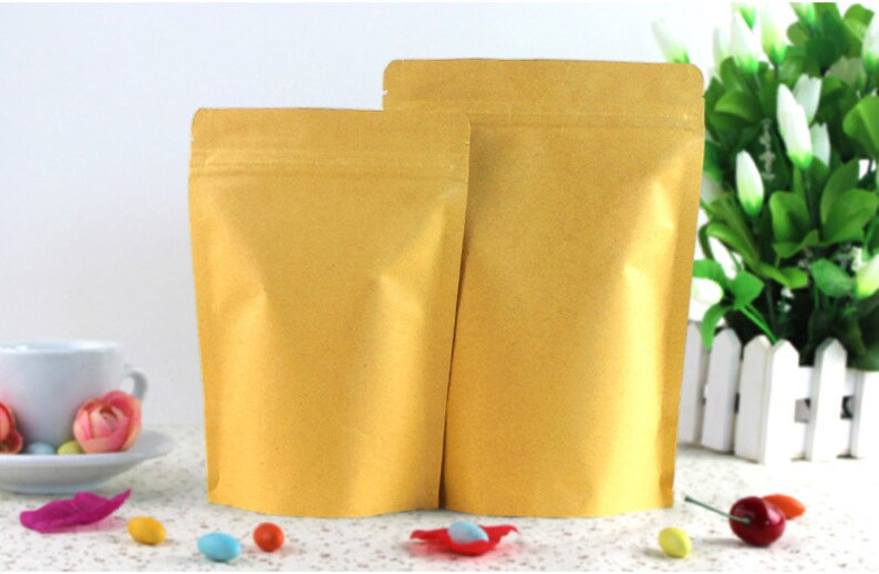 11*18.5+3cm 50pcs Stand Up Aluminum Foil Brown kraft paper bags with Zipper lock for FoodTeaNut Resealable Packaging Bag 50 pieces  lot
