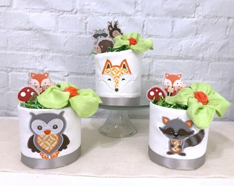 Woodland baby shower decorations, Woodland Diaper Cakes, Woodland baby shower centerpieces, Fox baby shower centerpieces, Diaper cakes