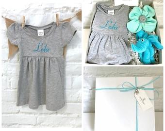 Elephant baby gift, Baby gift basket, Personalized baby gift, Monogrammed baby dress, Baby girl gift, Baby shower gift, Elephant baby shower