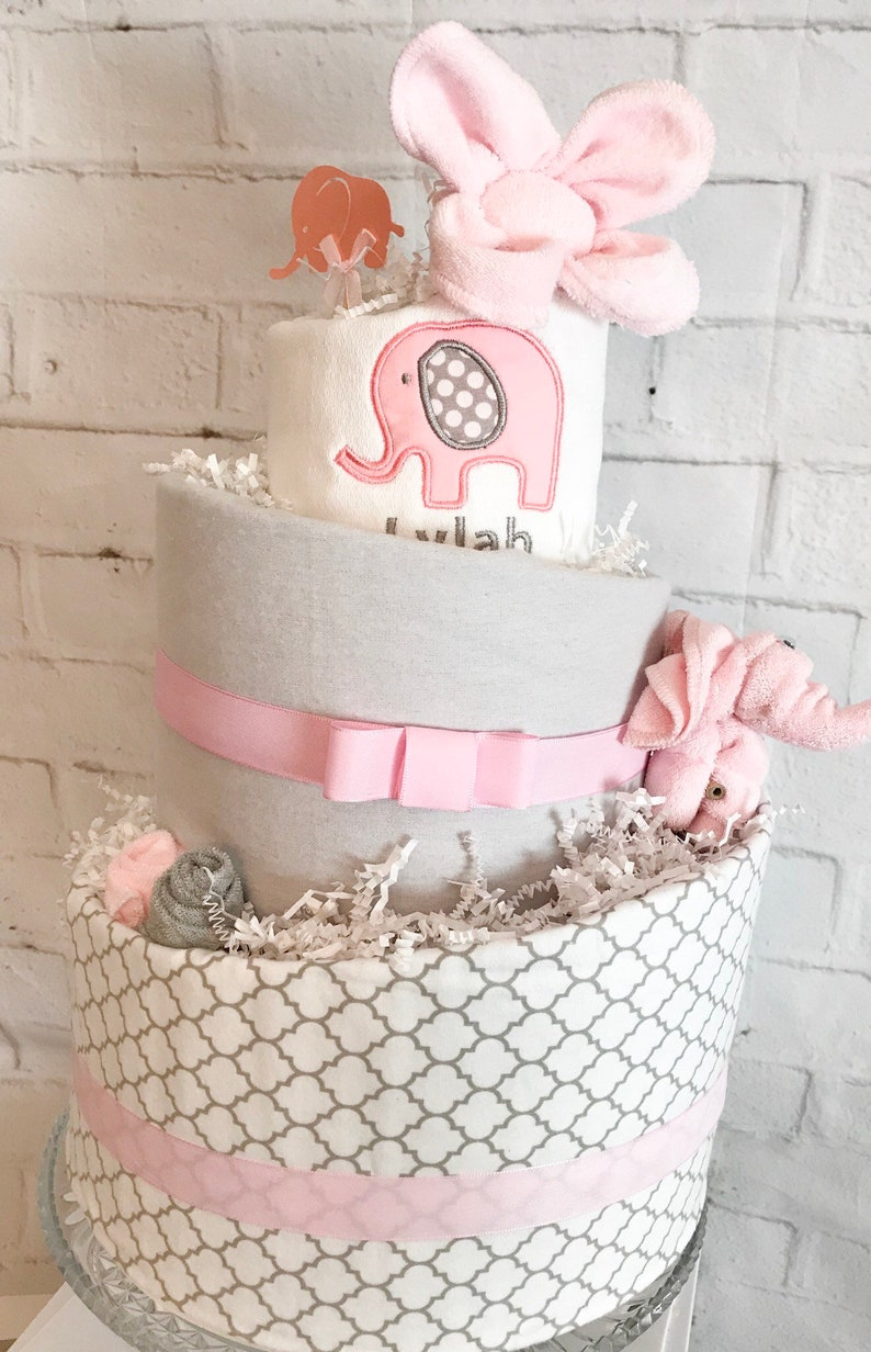 Pink Elephant Diaper Cake Elephant Baby Shower Pink And Gray Etsy