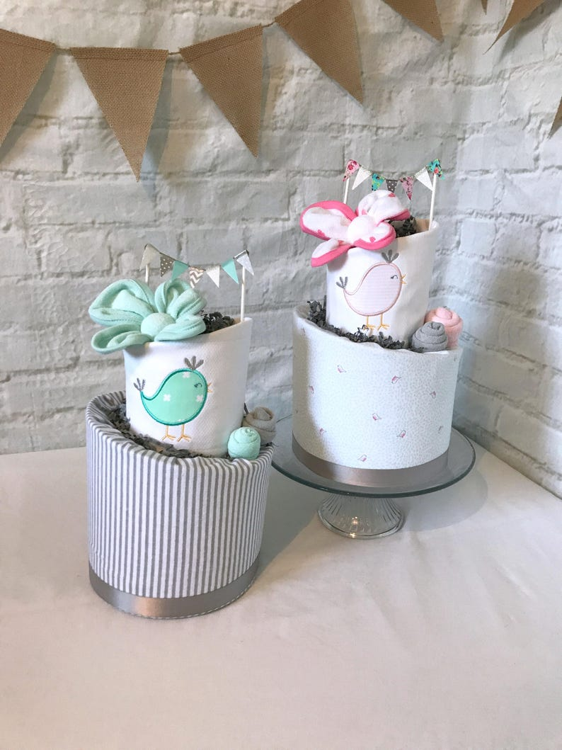 Twin Diaper Cakes Twin Baby Shower Baby Gift For Twins Baby Etsy