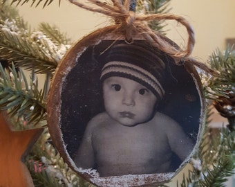 Ornament, photo ornament, kids personalized photo ornament, pet photo ornament on tree slice distressed with jute ribbon.