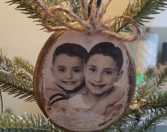 Photo ornament, kids personalized photo ornament, pet photo ornament on tree slice distressed with jute ribbon.