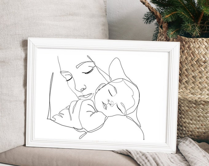 Modern Nativity Art- Line Drawing Mary and Baby Jesus