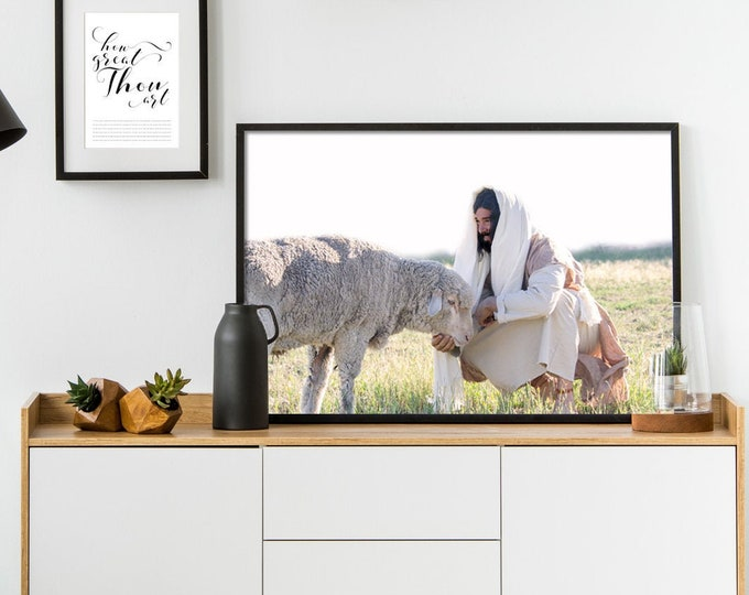 Christ Feeding His Sheep- Modern Christian Print, Color