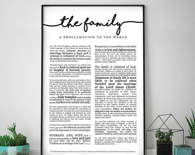 Family Proclamation Print- on Premium Paper- LDS