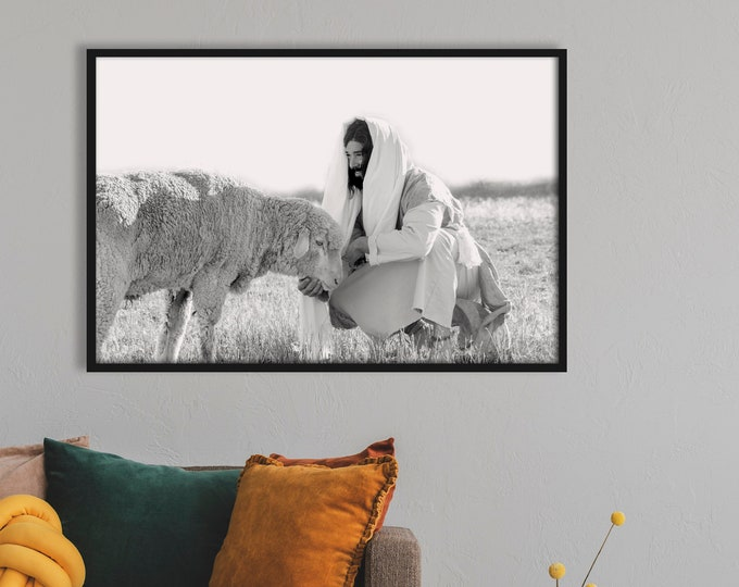 Christ Feeding His Sheep- Modern Christian Print, Black White Photo