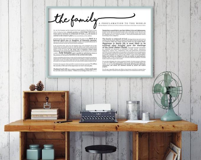 Horizontal Family Proclamation Print- on Premium Paper