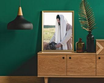 Jesus Comforting Black Sheep- Gorgeous Modern Print, Color