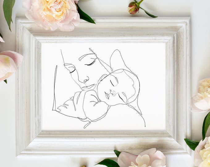 Modern Line Drawing Mother holding baby