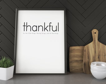 Thankful- Modern Typography Poster Print