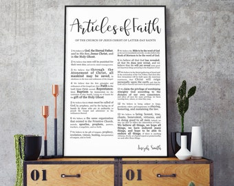 Articles of Faith Print- on Premium Paper- Modern Emphasized Font- LDS