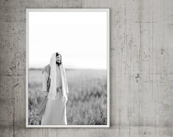 Jesus Christ in Field- Modern Christian Vertical Print, Black White Photo