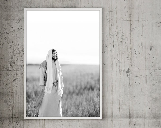 Jesus Christ in Field- Modern Christian Vertical Print, Black White Photo