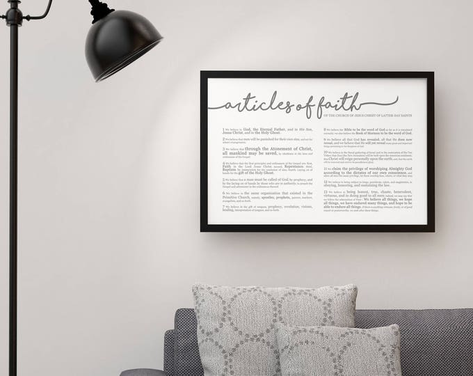 Horizontal Articles of Faith Print- LDS- Various Sizes