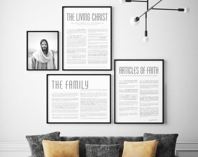 Horizontal Family Proclamation Print- Masculine Modern Title- Restored Church of Jesus Christ