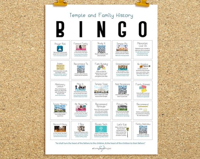 Family History BINGO Poster- Turning Hearts Project