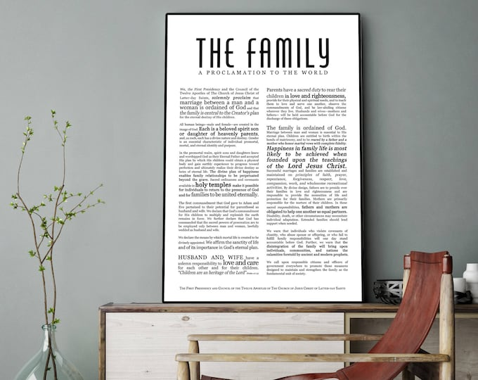 Family Proclamation Print- Masculine Modern Title- on Premium Paper