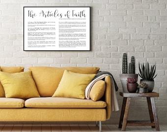 Landscape Articles of Faith Print- Modern Emphasized- Premium Print LDS