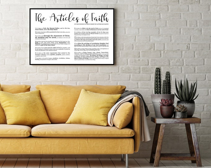 Landscape Articles of Faith Print- Modern Emphasized- Premium Print LDS
