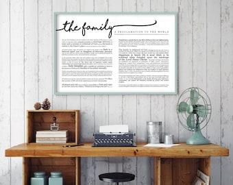 Horizontal Family Proclamation Print- LDS- Various Sizes- Cursive
