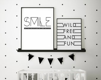 SMILE- Modern Home Decor Print- Black and White