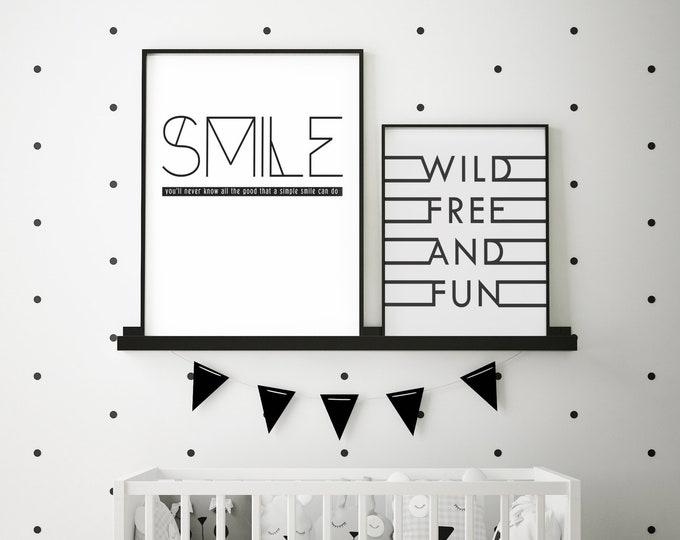 SMILE- Modern Home Decor Print- Black and White