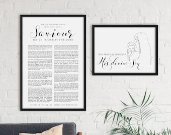 Nativity Line Drawing Christmas Print- Mary & Christ child- Horizontal