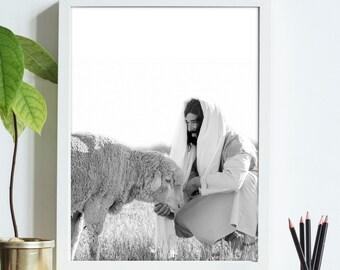 Christ Feeding His Sheep- Modern Christian Print, Black White Photo