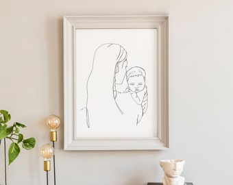 Mary and Baby Jesus Line Drawing Print