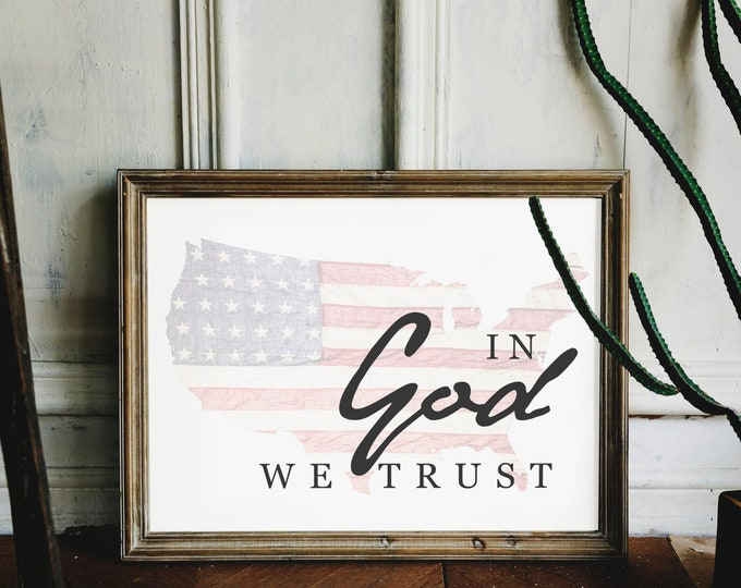 In God We Trust- Patriotic Flag Print USA