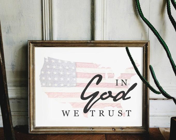 In God We Trust- Patriotic Flag Print USA