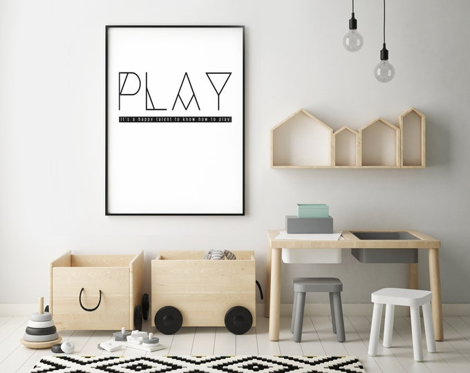 PLAY- Modern Home Decor Print- Black and White